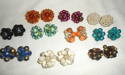 10 Pair of Vintage Cluster Bead Clip Earrings - Pretty Beads - Great Condition