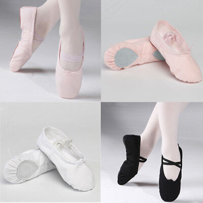 Children Girls Kids baby Ballet Canvas Dance Shoes Flat Slippers Split Sole New.