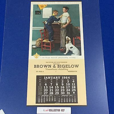 """Boy Scout 1964 Calendar 23""""x11"""" Norman Rockwell to keep myself physically strong"""