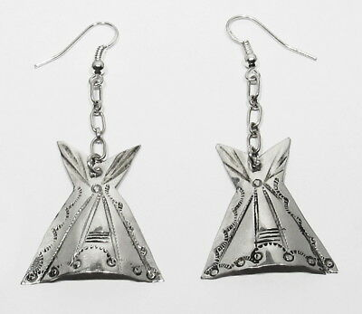 Large Vintage 70s Signed Navajo Handmade .925 Silver Teepee Tipi Dangle Earrings