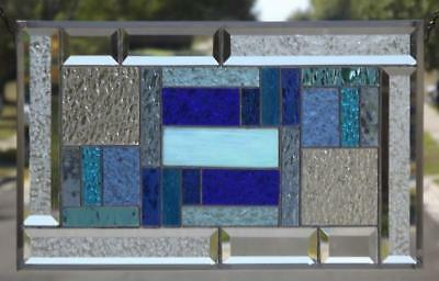 """• The Softer Side •Beveled Stained Glass Window Panel •20 ½""""x 12 ½"""" (52x32cm)"""