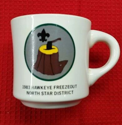 1983 Boy Scouts Hawkeye Freezeout North Star District Coffee Cup / Mug China