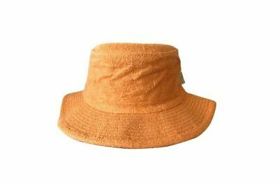 Terry Towelling Bucket Hat Wide Brim Sun Protection Fishing Camping Orange Mango