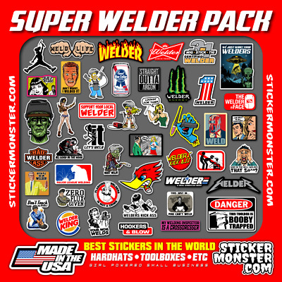 NEW WELDER 40+ Hard Hat Stickers HardHat Sticker & Decals, Welding Helmet, Hood