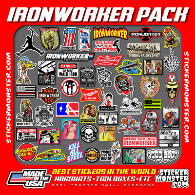 IRONWORKER IRON WORKER 40 Hard Hat Stickers HardHat Sticker & Decals, Helmet
