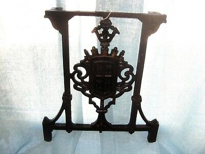 Antique Vintage Salvage Wrought Iron Square Coat of Arms Scroll Design