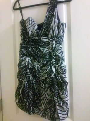 H&M Pre-Owned Black & White One Shoulder Party Mini Dress