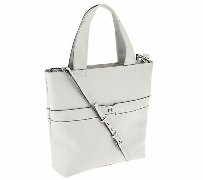 H BY HALSTON Pebble Leather Tote Handbag - Grey x9043s -  144.50 ... f105d0aeb98cb