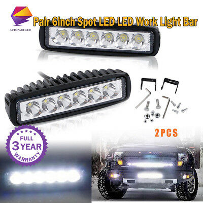 Pair LED Light Work Bar Lamp Driving Fog Offroad Spot SUV 4WD ATV Car Truck 6""