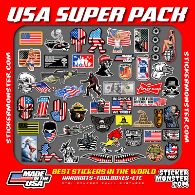 USA Hard Hat Stickers (50+) HardHat Sticker & Decals, Helmet, Flask, Bottle