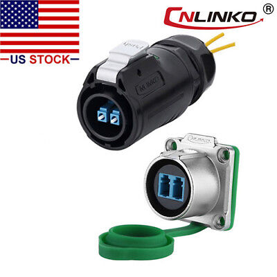 CNLINKO Fiber Optic Connector Plug & Socket IP67 w/10ft Cable Single Mode LC