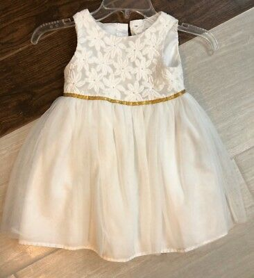 Cat And Jack Toddler Dress 4T 4 White Flower Little Girl Wedding Pageant Church