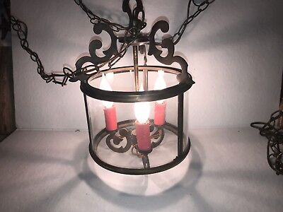 Vintage French Large Cylinder Glass Lantern Chandelier Three Branch Candle Light