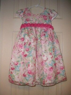 Euc Marmellata Baby Girl Special Occasion Pink Floral Dress With Rosettes 3T
