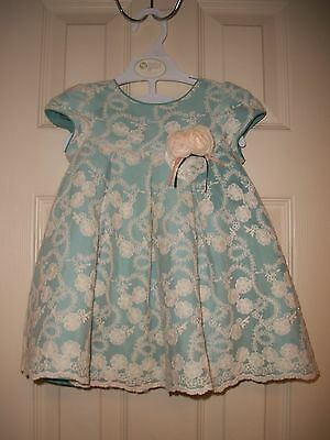 Euc Laura Ashley Baby Girl Party Wedding Dress Teal Ivory Lace & Bloomers 18 Mos
