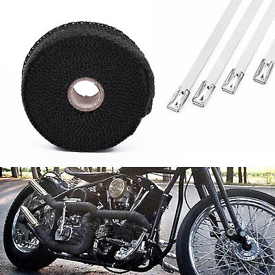 Car Motorcycle Black Insulation Wrap Exhaust Header Pipe Tape 5m x 20mm w/4 Ties