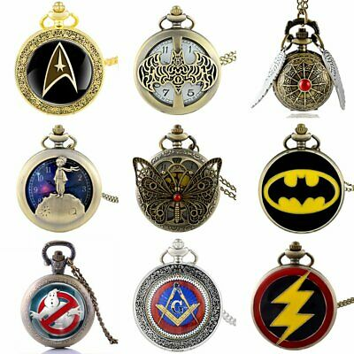 Vintage Quartz Pocket Watch Antique Steampunk Design Necklace Superhero Pendant