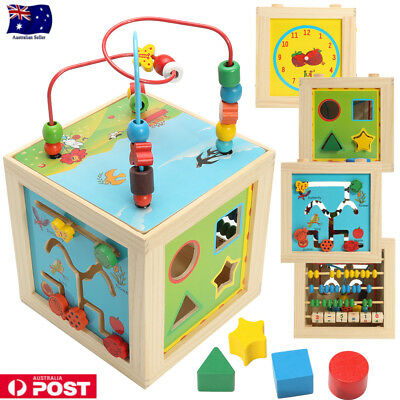 Gift Educational Toy 12m+ Baby 5in1 Wooden Bead Maze Activity Cube