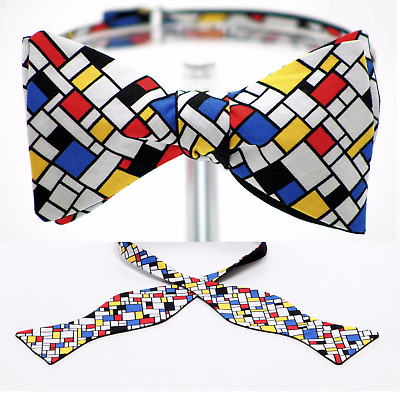 "BOW TIE ""Neo-plasticism"" Themed - Handmade by Remarkable Bowties #Rem-PT-GO-118"