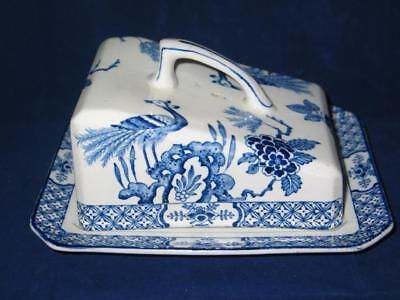 Antique Wood & Sons Yuan Flow Blue Porcelain Handled Covered Cheese Butter Dish