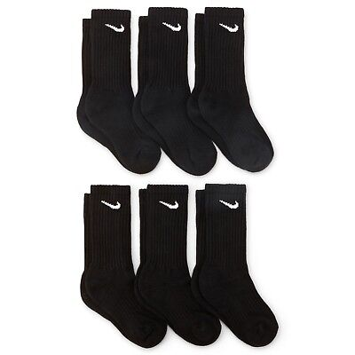 NEW 6PRS NIKE Boys Girls CREW socks Black 3Y-5Y Performance Moist Wick cotton