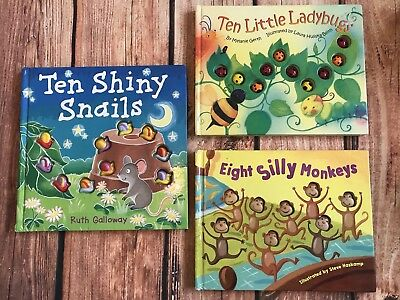 Ten Shiny Snails, Ten Little Ladybugs, & Eight Silly Monkeys Board Books, Used