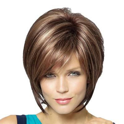 Short Natural Straight Layered 100% Female Human Hair Wigs with Cap Brown