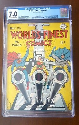 1942 - World's Finest #7 (CGC 7.0) -fun historic book- Siegel/Kane/Simon & Kirby
