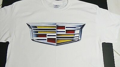 "Brand NEW ""WHITE"" CADILLAC T-SHIRT ats sts cts 2015 racing* logo emblem ornament"