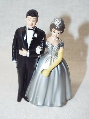 VINTAGE WILTON BRIDE & GROOM CAKE TOPPER  WEDDING COUPLE 1982 Silver Dress