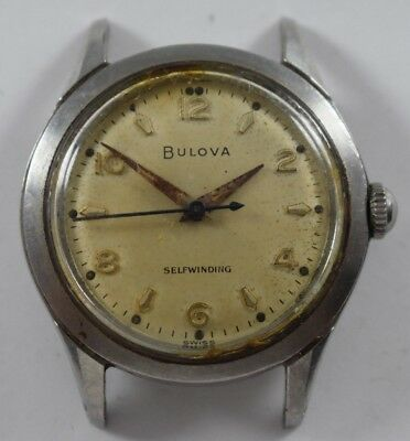 Vintage Bulova Automatic 32.60mm All Stainless Steel Case Mens Wrist Watch lot.b