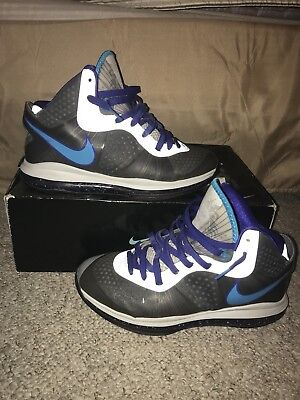 b0d76231c9fd Nike Lebron 8 Summit Lake Hornets Grey Blue Purple White Size 10