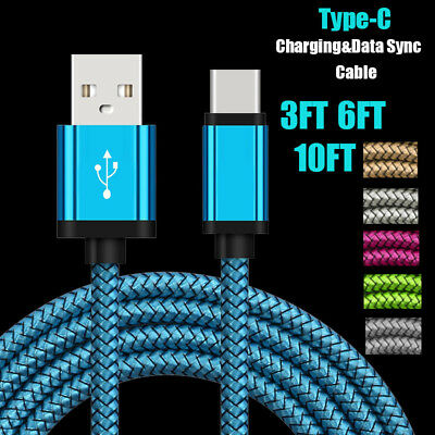 1~3m Durable Braided Type-C USB-C Charger Data Sync Cable For Samsung S8 Note 8