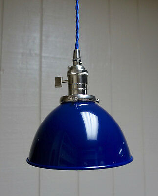 """Blue Porcelain Enamel Shade: 7"""" Industrial Dome, 2-1/4"""" fitter, Metal Lampshade"""