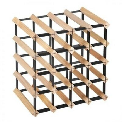 NEW 20 Bottles Capacity Timber Pine Wood and Steel Wine Storage Display Rack