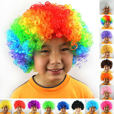 Football Fan Kids Adult Short Curly Afro Clown Party Cosplay Full Wigs Costume