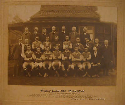 "GUILDFORD FC 1920-21 SOUTHERN SUBURBAN LEAGUE CHAMPIONS 11 1/4"" x 8 1/4"" PICTURE"