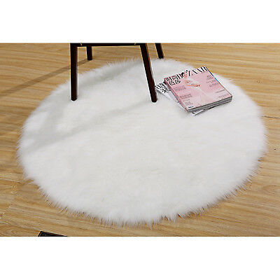 White Shaggy Rug Round Long Hair Faux Fur Decorative Luxury Shag Free Postage