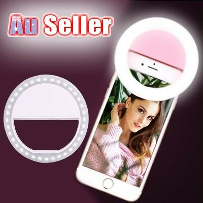 Portable Selfie LED Phone Ring Flash Fill Light Clip Camera For iPhone Samsung