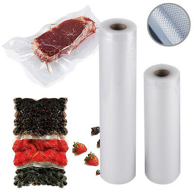2 Rolls (12M) Textured Vacuum Sealer Sous Vide Food Saver Storage Bags 20/28cm