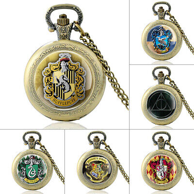 Antique Harry Potter Hogwarts Pocket Watch Quartz Pendant Necklace Chain Vintage