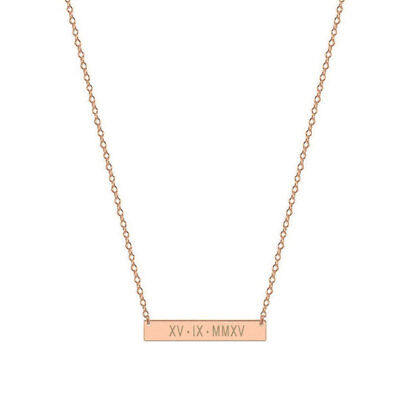 Personalized Roman Numerals Atlas Horizontal Bar in Rose Gold Plated Silver