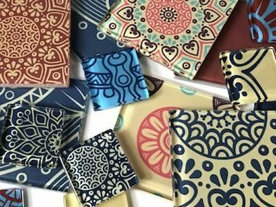 Ornamental Themed Handmade Tile Set - Mosaic Art Craft Tiles Supplies