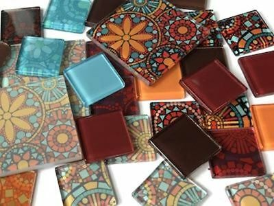 Abstract Themed Handmade Tile Set - Mosaic Tiles Art Craft Supplies