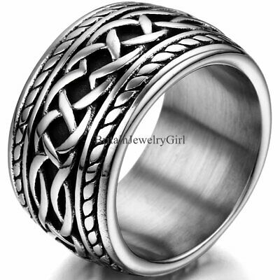 Punk Men's Stainless Steel Biker Ring Wide Wedding Promise Band Size #7-11