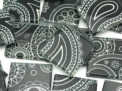 Black & White Patterned Handmade Glass Tiles 2.5cm - Mosaic Tiles Craft