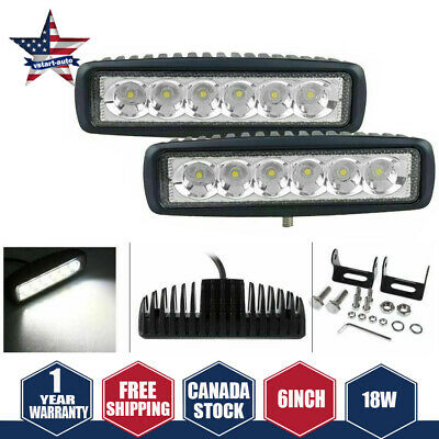 2X 6Inch 18W Led Work Light Bar Spot Offroad Ute Reversing Truck Pod