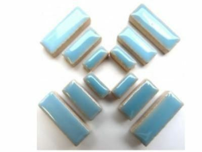 Light Blue Ceramic Rectangles - Mosaic Tiles Supplies Art Craft