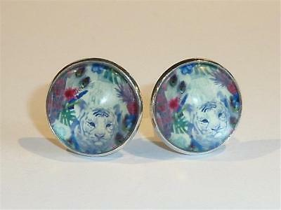 Silver Plated Cufflinks - Tiger Design - Gift Bag- Free Uk P&p.......w2065