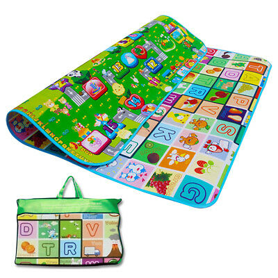 2 Side 200X180Cm Kids Crawling Soft Foam Educational Game Play Mat Picnic Carpet